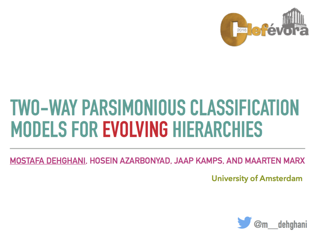 Two-Way Parsimonious Classification Models for Evolving Hierarchies