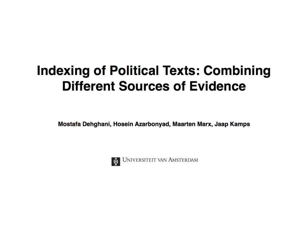 Indexing of Political Texts: Combining Different Sources of Evidence