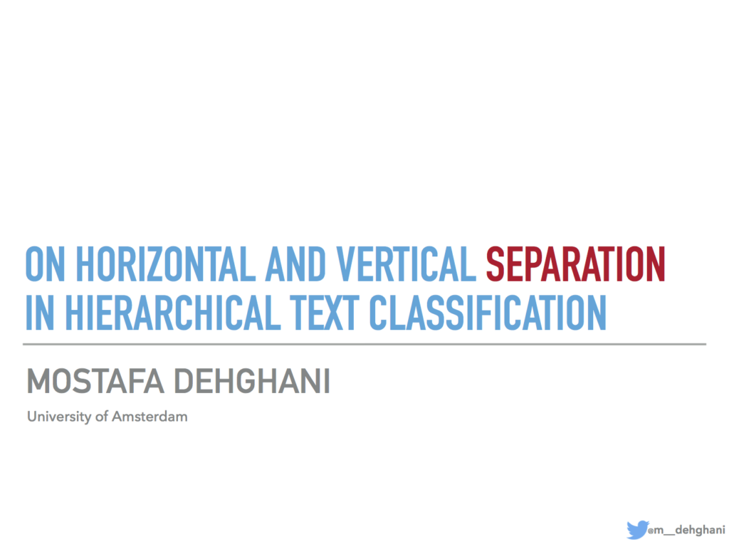 On Horizontal and Vertical Separation in Hierarchical Text Classification