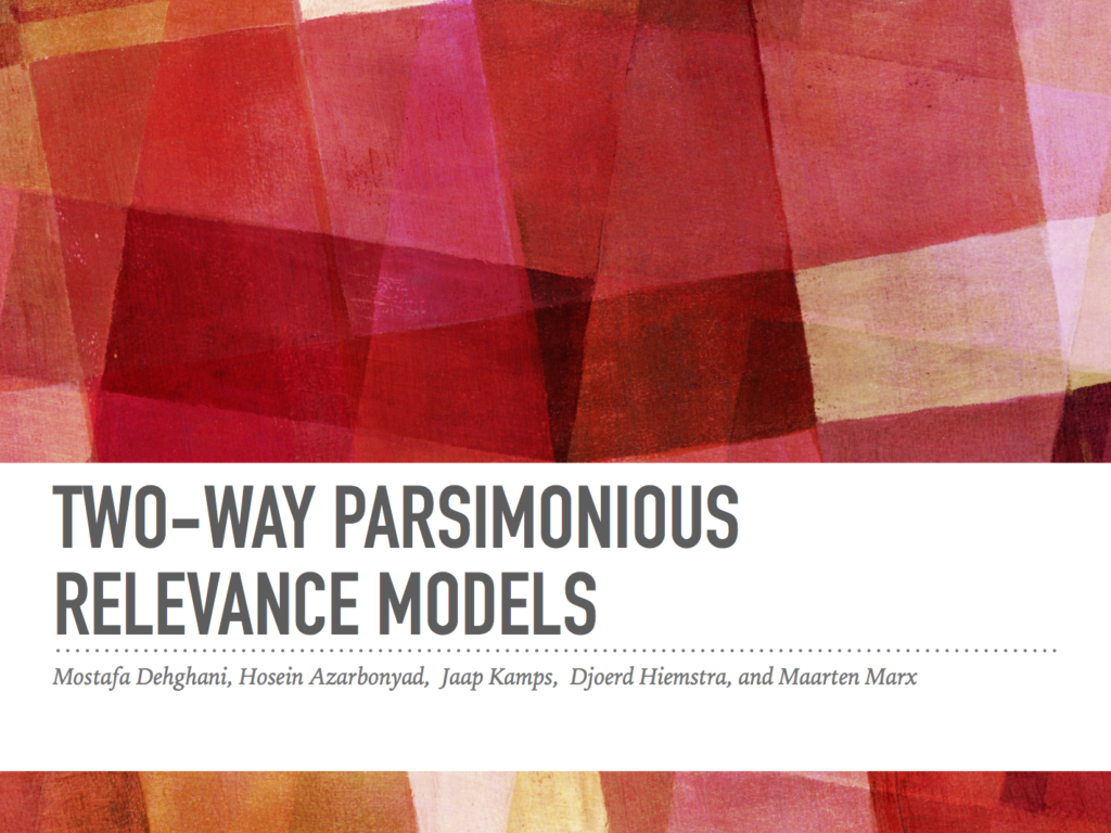 Two-Way Parsimonious Relevance Models