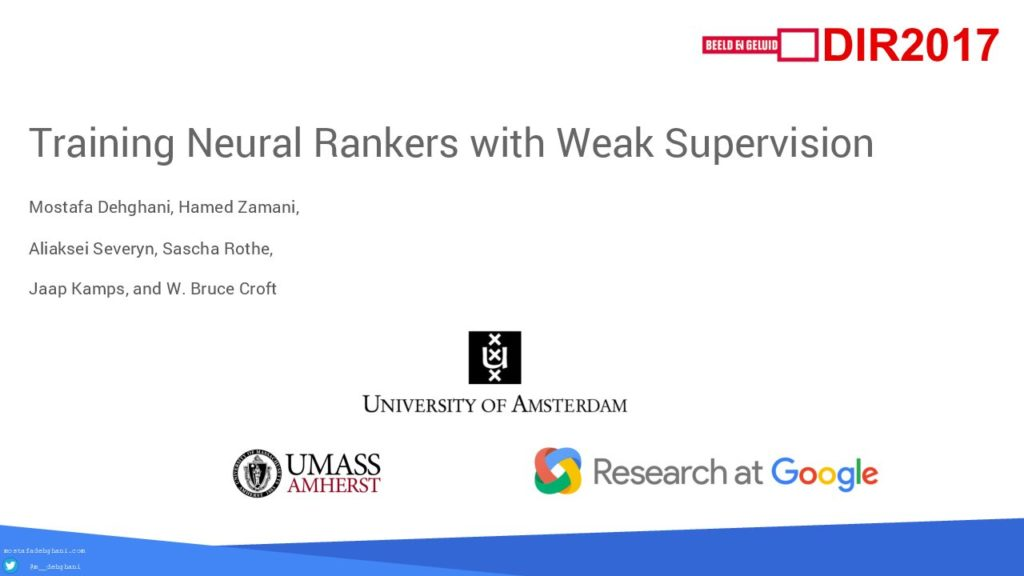 Training Neural Rankers with Weak Supervsion