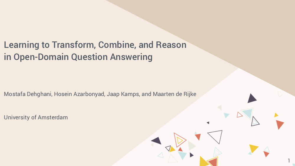Learning to Transform, Combine, and Reason in Open-Domain Question Answering